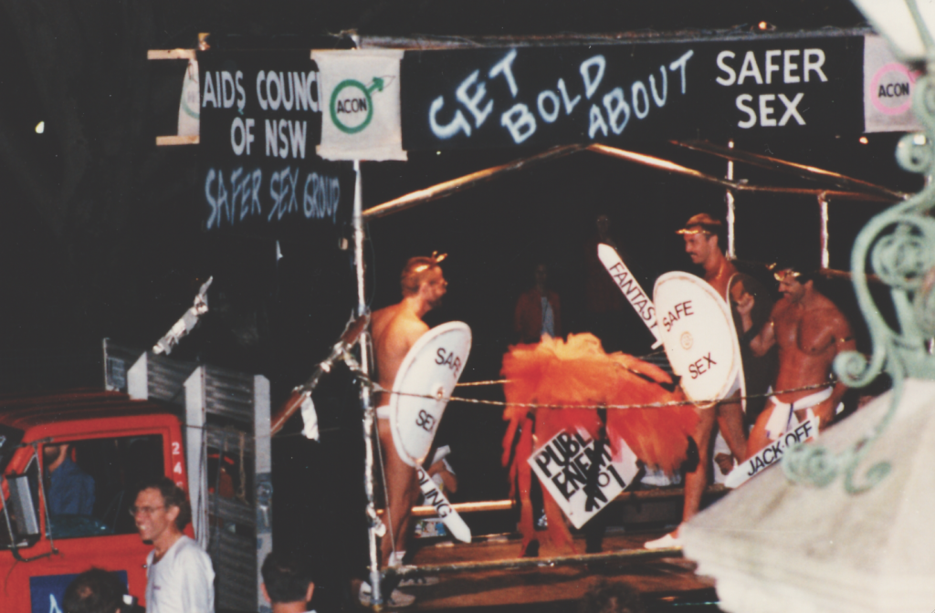 ACON's first Mardi Gras Float, 1986. Since this first entry, ACON's Mardi Gras float has grown to one of the largest in the parade. (Source: Star Observer archives)