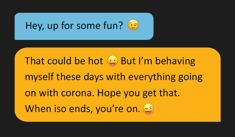 Two speech bubbles reading: 'Hey. Up for some fun?' Followed by: 'That could be hot :P But I'm behaving myself these days with everything going on with corona. Hope you get that. When iso ends, you're on.'